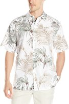 Cubavera Cuba Vera Men's Short Sleeve All Over Tropical Print Linen Woven Shirt