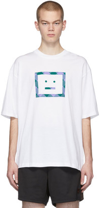 Acne Studios White Erian Check Face T-Shirt