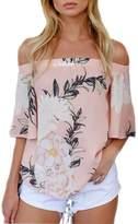 Perman Casual Off Shoulder Floral Printed Blouse Tops T Shirt (L, )