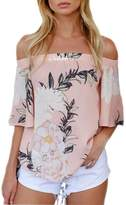 Perman Casual Off Shoulder Floral Printed Blouse Tops T Shirt (S, )