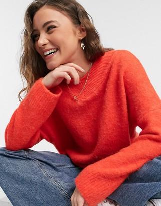 Topshop brushed jumper in red