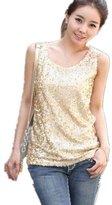 Urparcel Womens Shining Vest Bling Sequin Tank Top Sleeveless T Shirt (XL, Gold)