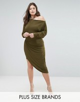 Club L Assymetric Slinky Wrap Dress
