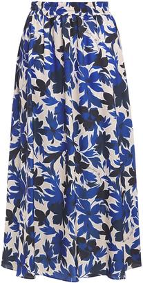 Boutique Moschino Floral-print Satin Midi Skirt
