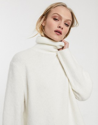 And other stories & oversized funnel neck jumper in white