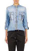 Balmain Women's Washed Denim Shirt-BLUE