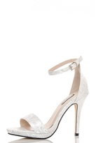 Quiz White Jacquard Barely There Sandals
