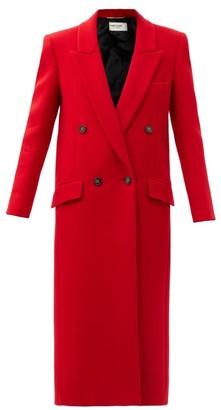 Saint Laurent Longline Felted Cashmere-blend Coat - Red