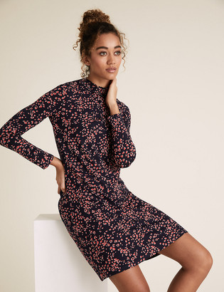 Marks and Spencer Jersey Animal Print High Neck Swing Dress