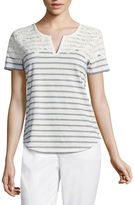 Liz Claiborne Short-Sleeve Split Neck Lace Tee