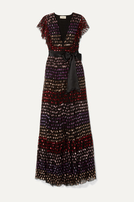 Temperley London Wendy Belted Ruffled Sequined Tulle Gown - Black