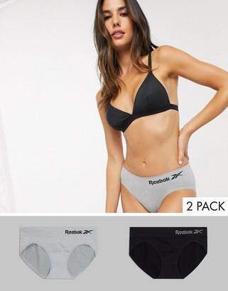 Reebok 2 pack seamless briefs in black & grey