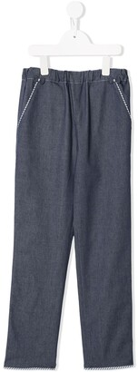 Familiar Bow-Detail Straight Trousers