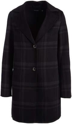 Tahari Women's Car Coats BLACK - Black Plaid Double Faced Topper Coat - Women
