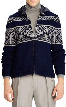 Ralph Lauren Wool & Cashmere Zip-Up Hooded Cardigan