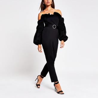 River Island Black long sleeve ruffle bardot jumpsuit