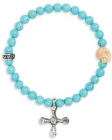 King Baby Studio Men's Turquoise Skull & Cross Bracelet