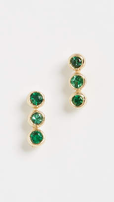 Jennifer Meyer Jewelry 18k Emerald 3 Mini Bezel Studs