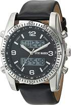 Steve Madden Men's Quartz Stainless Steel and Leather Dress Watch, Color:Black (Model: SMW103)