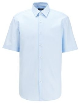 BOSS Regular-fit shirt in structured cotton with short sleeves