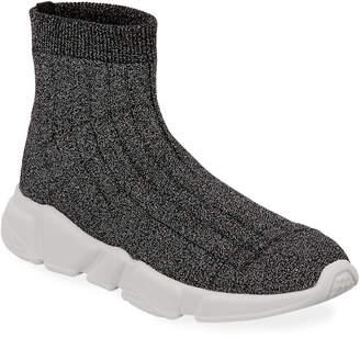 Neiman Marcus Avery Metallic Knit Sock Sneakers
