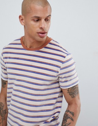 ASOS DESIGN velour stripe t-shirt with contrast rib in off white