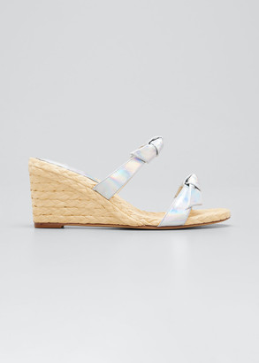 Alexandre Birman Clarita Holographic Wedge Espadrille Sandals