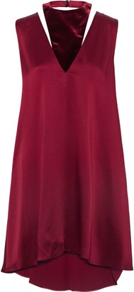 Valentino Cutout Velvet-paneled Hammered-satin Mini Dress