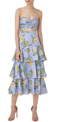 AMUR Koxy Linen-Blend Midi Dress