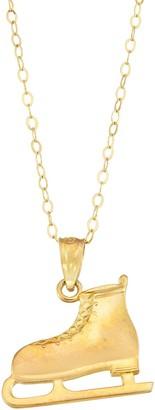 10k Gold Ice Skate Pendant Necklace