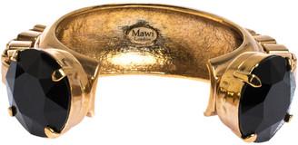 Mawi Black Crystal Gold Tone Open Cuff Chunky Statement Bracelet