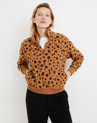 Madewell MWL Betterfleece Half-Zip Sweatshirt in Cheetah Print