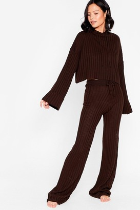 Nasty Gal Womens Take the Easy Option Hoodie and Pants Lounge Set - Chocolate