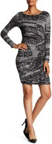 Desigual Long Sleeve Bodycon Dress With Graphic Designing
