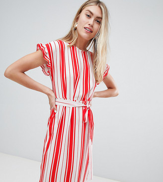 Miss Selfridge midi dress with tie waist in stripe-Multi