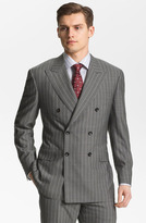 Canali Double Breasted Stripe Suit Light Grey Stripe 50R EU