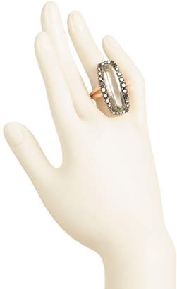 Made In Usa 18k Gold Green Amethyst And Black Diamond Ring
