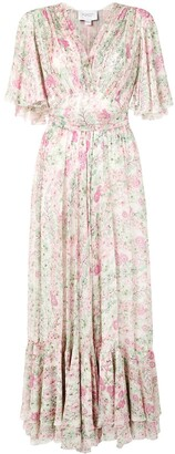 Giambattista Valli Pleated Floral-Print Dress
