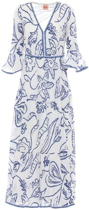 Le Sirenuse Positano Bella Paisley Cotton Crepe Long Dress