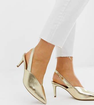 Asos Design DESIGN Wide Fit Savannah slingback kitten heels in gold mix