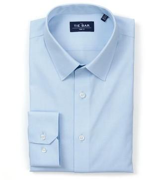 Tie Bar Pinpoint Solid - Point Collar Light Blue Non-Iron Dress Shirt