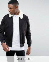 Asos Tall Cotton Bomber Jacket With Borg Collar In Black