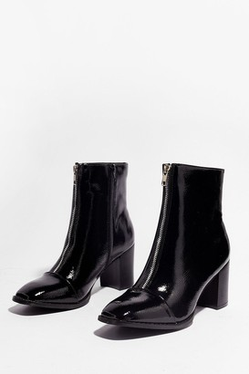 Nasty Gal Womens Zip the Details Patent Heeled Boots - Black - 5, Black