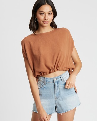 The Fated - Women's Brown Cropped tops - Soraya Blouse - Size 14 at The Iconic