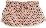 Scotch R'Belle MACRAMÉ-TRIMMED ABSTRACT-PRINT CREPE SHORTS-PINK, NO COLOR SIZE 10
