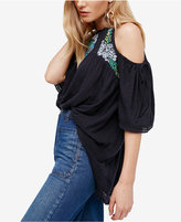 Free People Fast Times Embroidered Cold-Shoulder Top
