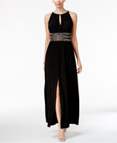 R & M Richards Beaded Gathered Keyhole Gown