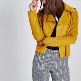 River Island Womens Yellow faux suede cropped trench coat jacket