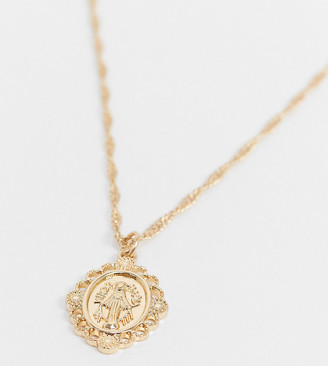 Reclaimed Vintage Inspired st Christopher pendant necklace in gold
