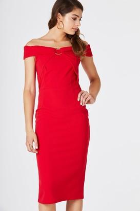 Girls On Film Cosmo Red Bardot Midi Dress